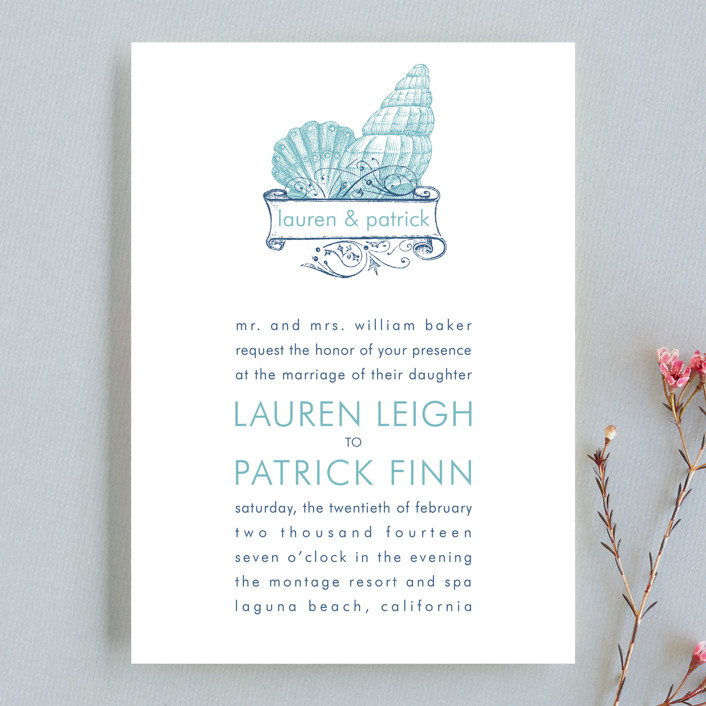 By The Sea Wedding Invitation