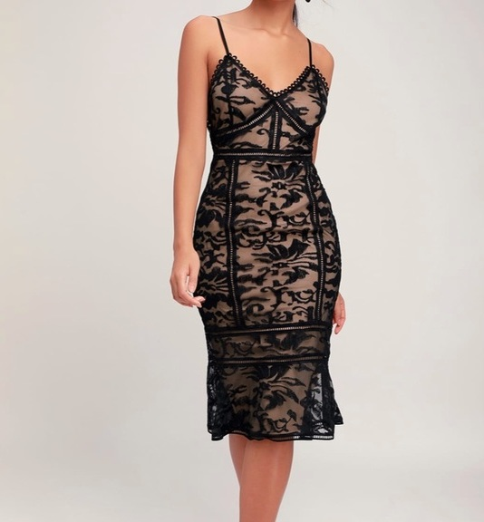 Alluring Love Black and Nude Lace Trumpet Dress