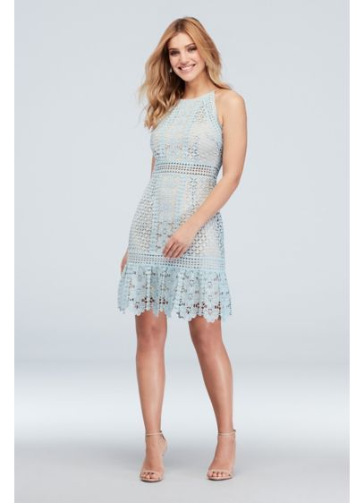 High-Neck Crochet Flounce Hem Dress