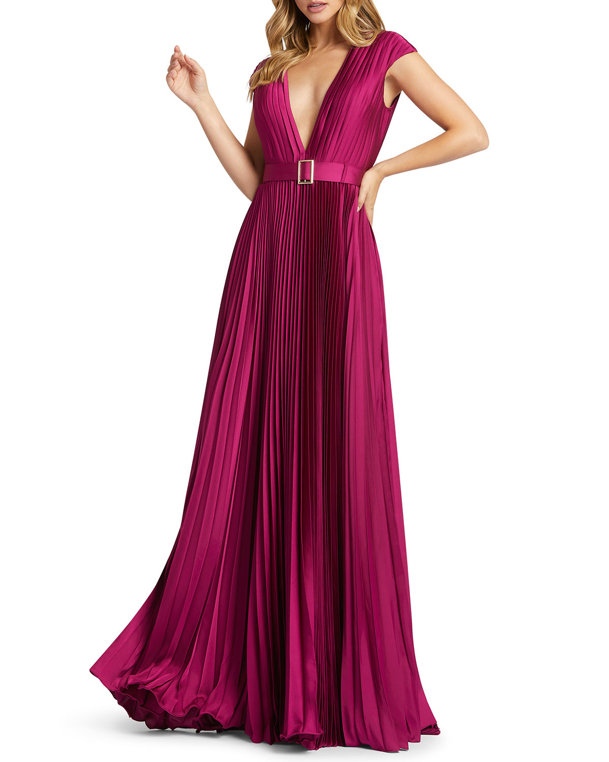 Mac Duggal Deep V-Neck Pleated Satin Gown