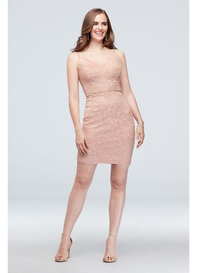 Scalloped V-Neck Stretch Lace Dress