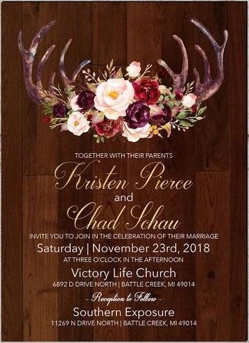 Penelope's Paper Pantry Elegant Rustic Fall Wedding Invitation with Roses, Antlers and Barn Wood