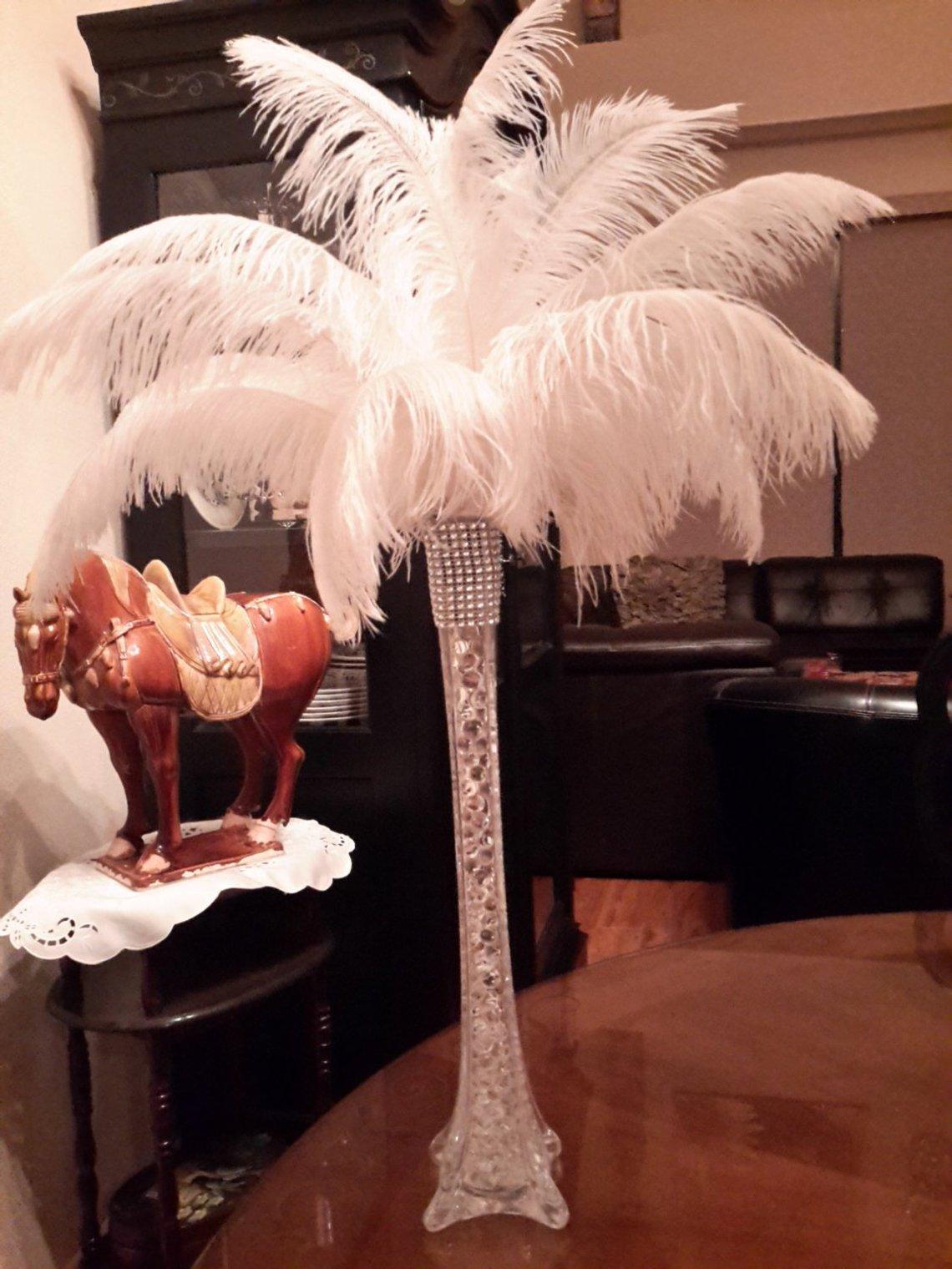 Ostrich Feather Eiffel Tower Centerpiece