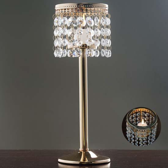 Gold Votive Tealight Crystal Candle Holder