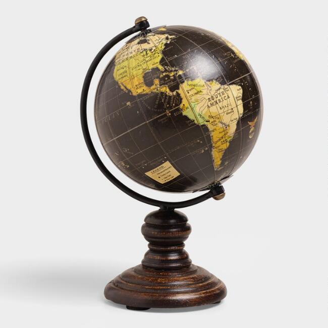 Mini Black Globe On Stand