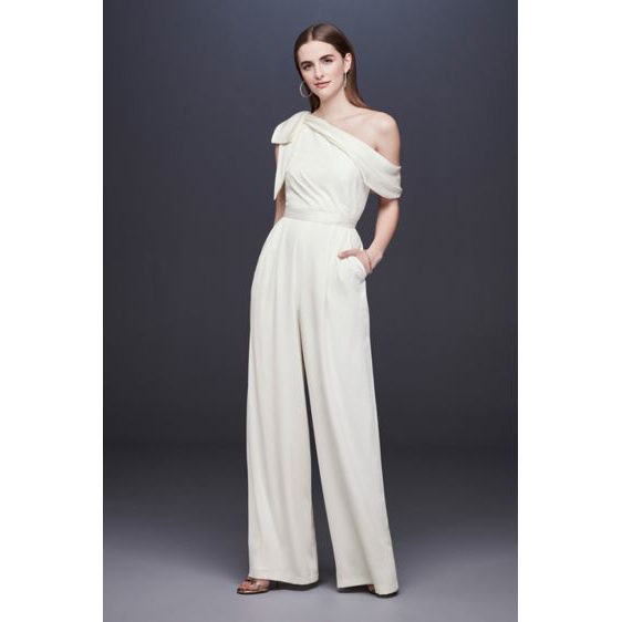 DB Studio One-Shoulder Crepe Wedding Jumpsuit with Bow