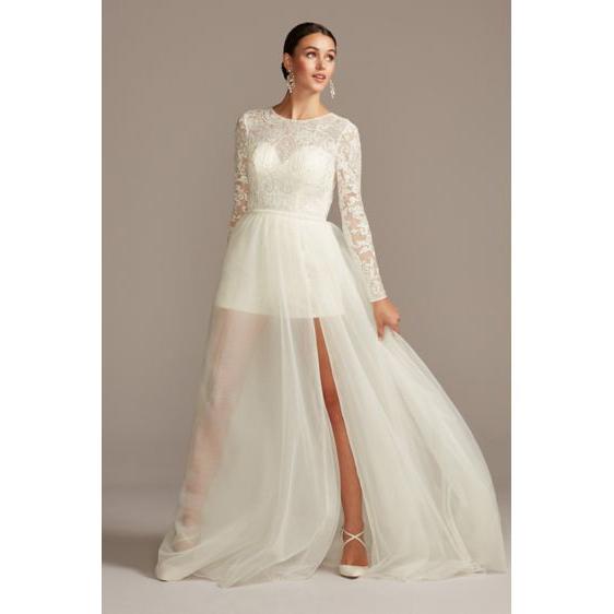 Galina Signature Brocade Illusion Wedding Romper with Overskirt