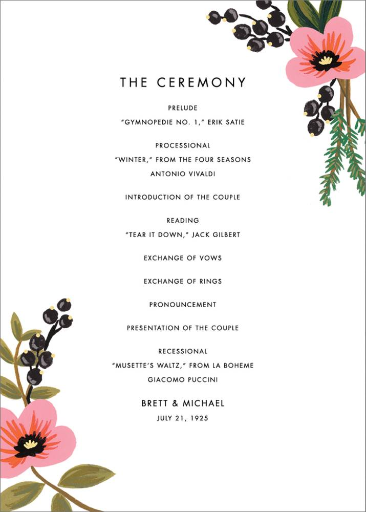 Wedding Programme Kozen Jasonkellyphoto Co