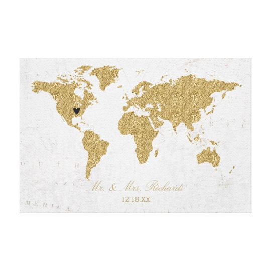 Gold Foil World Map Wedding Alternative Guest Book