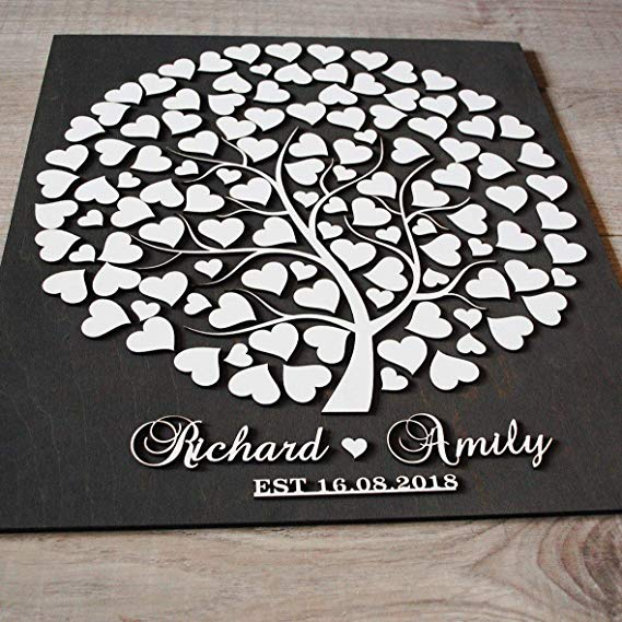 Littledollz Wedding Tree Wood Guest Book