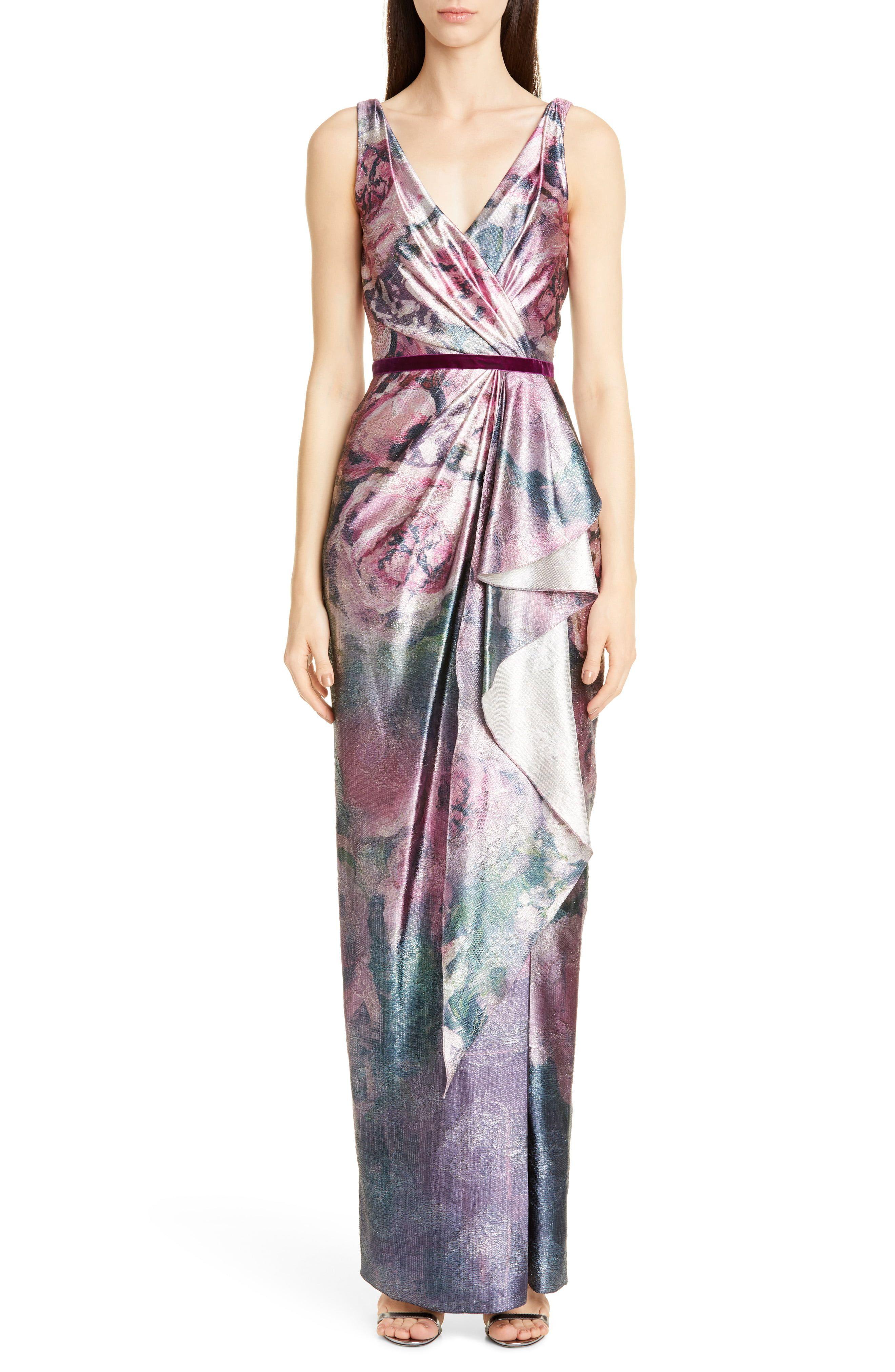 Marchesa Notte Draped Metallic Floral Gown