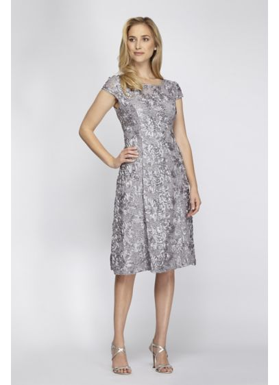 David's Bridal Short A-Line Applique Dress With Cap Sleeves