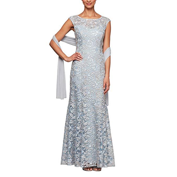 Alex Evenings Long Sleeveless Dress and Shawl