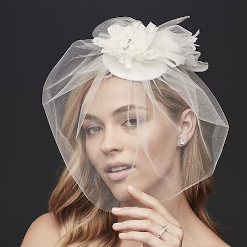 David's Bridal Vintage Hat with Attached Flowers and Blusher