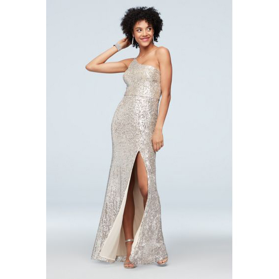 Xscape One Shoulder Stretch Sequin Gown with Skirt Slit