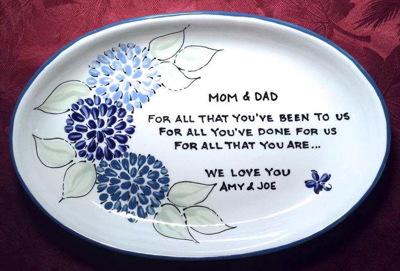 Brush Stroke Plates Personalized Floral Plate for Parents