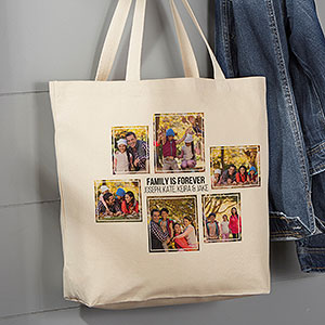 Six Photo Personalized Canvas Tote Bag