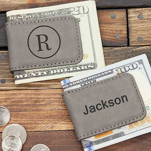 Grey Leatherette Personalized Magnetic Money Clip