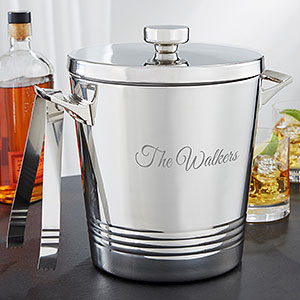 Top Shelf Personalized Ice Bucket With Tongs