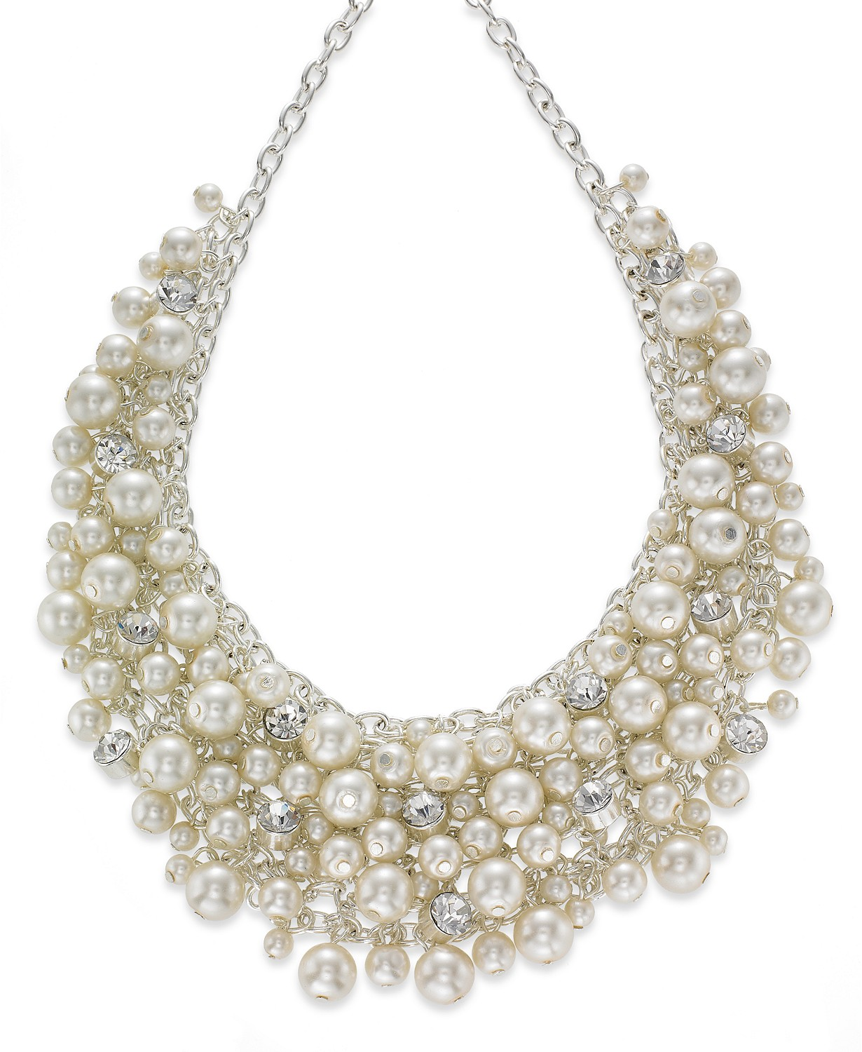 Charter Club 16′ Glass Pearl Cluster Bib Necklace
