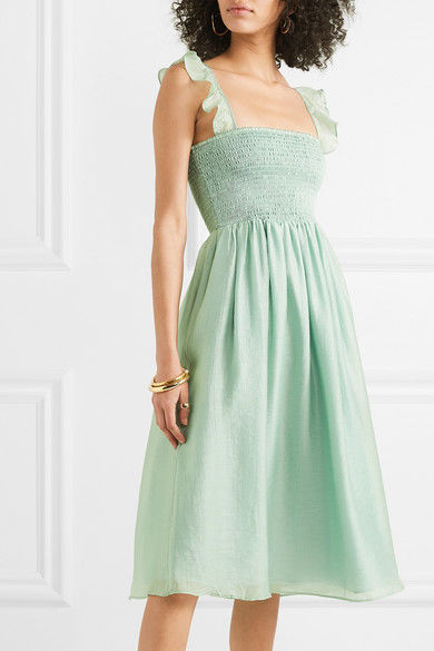 MADEWELL Ruffled shirred voile dress