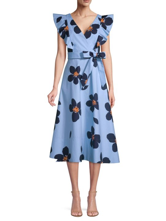 Kate Spade New York Grand Flora Poplin Midi Dress