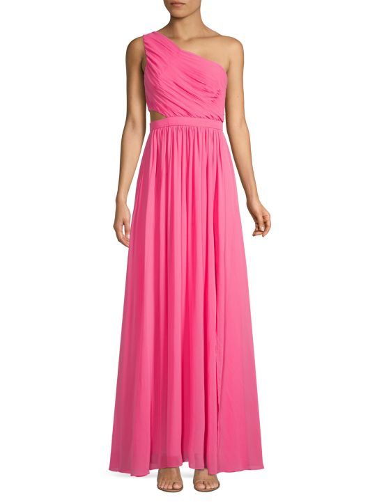 BCBGMAXAZRIA One-Shoulder Cutout Gown