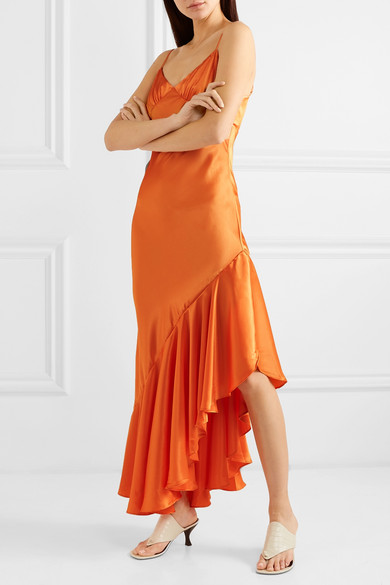The Line by K Allegra asymmetric ruffled satin dress