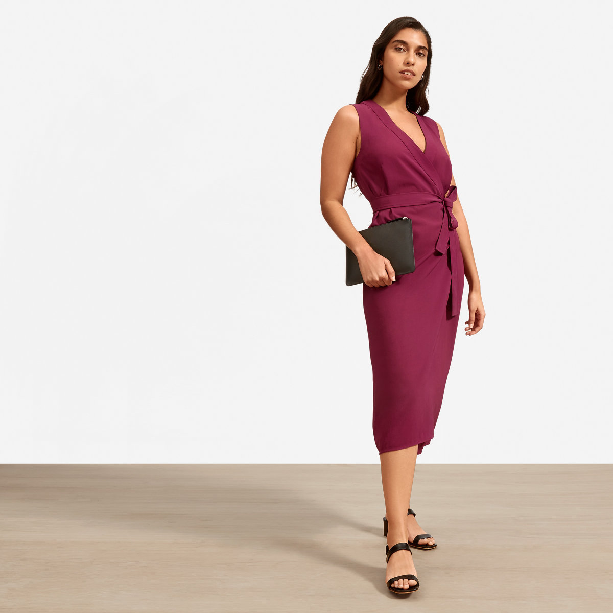 Everlane Japanese GoWeave Sleeveless Wrap Dress