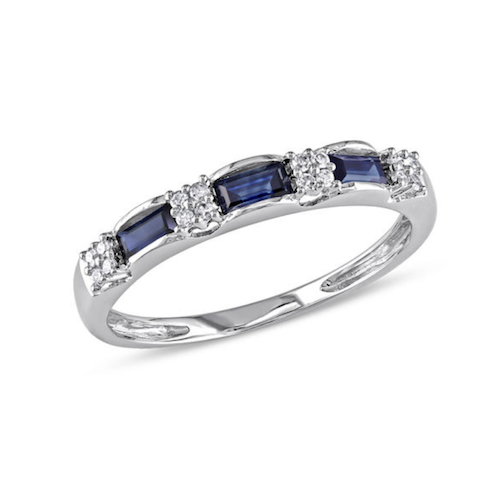 Baguette Blue Sapphire and Diamond Accent Three Stone Band