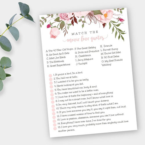 Printable Moment Boho Bridal Shower Game Movie Love Quotes