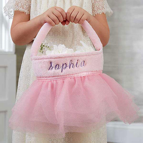 Pink Tutu Personalized Flower Girl Basket
