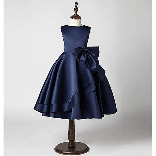 Kissangel Navy Tiered Dress with Bow