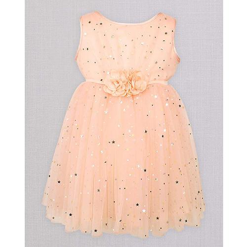 Popatu Sleeveless Mesh Flower Girl Dress with Stars