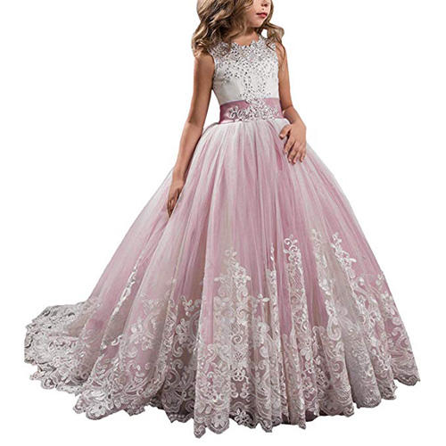 KSDN Lace Tulle Flower Girl Dress with Bow