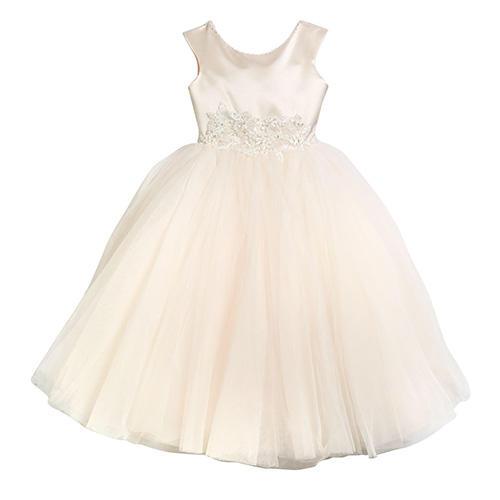Joan Calabrese Satin & Tulle Tea Length Dress