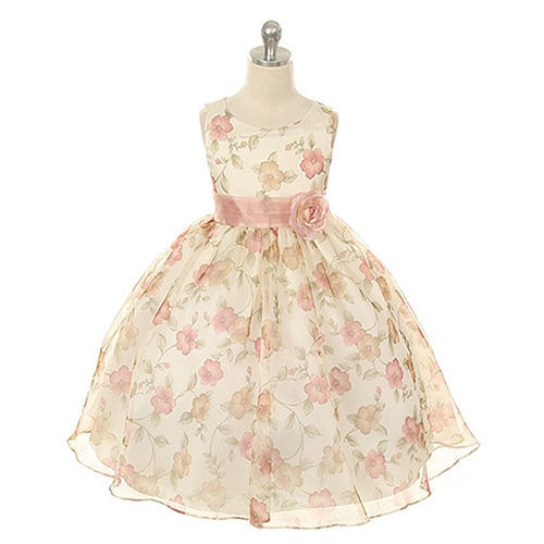 Kid's Dream Little Girls Vintage Rose Organza Floral Dress