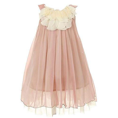 Kid's Dream Little Girls Coral Chiffon Floral Lace Bodice Dress