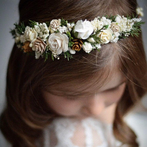 Sweet Nest Boutique Ivory and White Flower Pine Cone Crown
