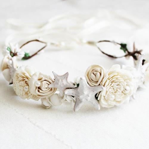 Superlunary Seashell, Starfish & Sola Flowers Crown