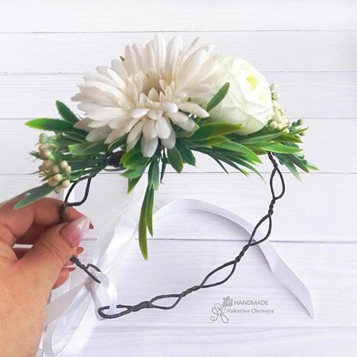 Flowey Art White Daisy and Ranunculus Flower Girl Crown
