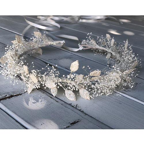 Fleurs De Simone White Sparkle Leaf and Baby's Breath Flower Girl Crown