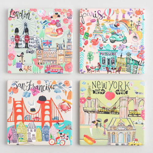 World Market Illustrated Cities Coasters 4 Pack