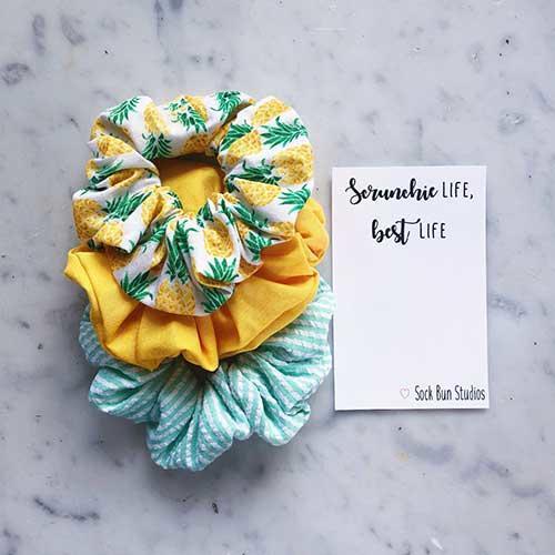 Sock Bun Studios Pineapple and Seersucker Scrunchie Pack