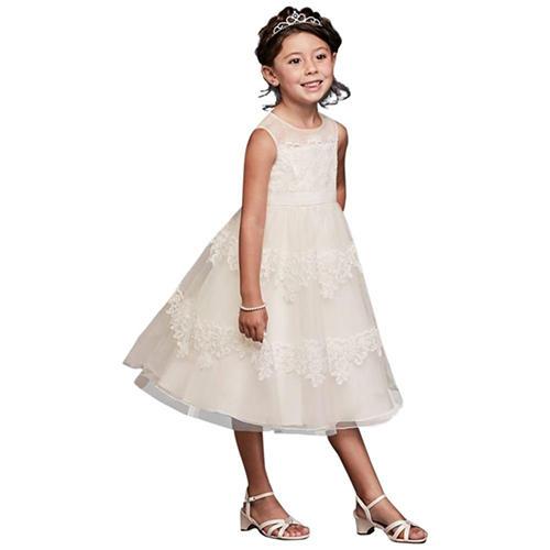 David's Bridal Banded Lace Illusion Dress