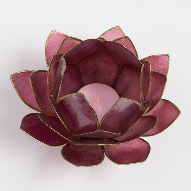 27 Petal Lotus Capiz Tealight Candleholder