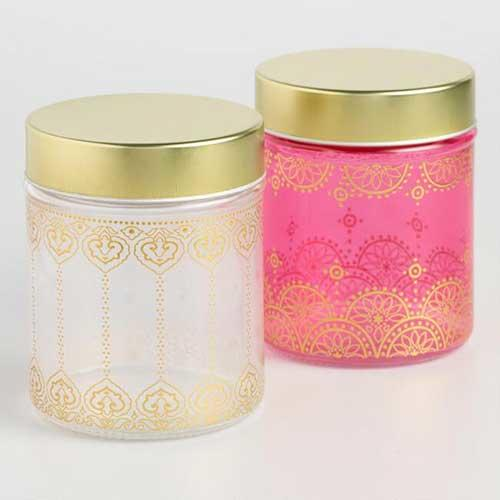 Small Glass Jaipur Storage Containers Set Of 2
