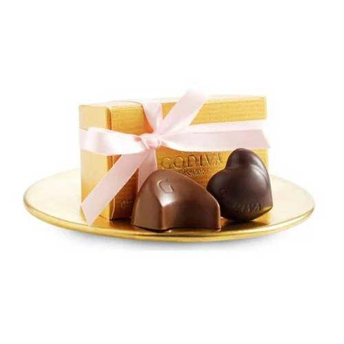 Godiva Assorted Chocolate Gold Favor with Pink Ribbon