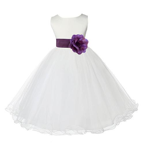 Ekidsbridal Satin Tulle Rattail Edge Dress