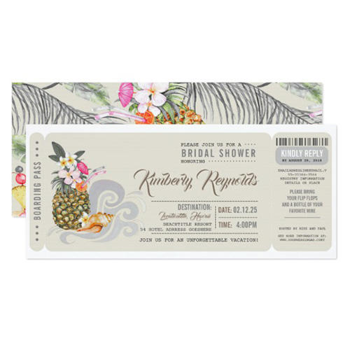 Lovely Wow Studio Boarding Pass Pineapple & Beach Bridal Shower Invites